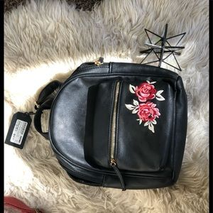 Purse Backpack w embroidered rose detail